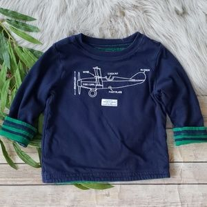 Janie and Jack Reversible Striped and Plane Shirt